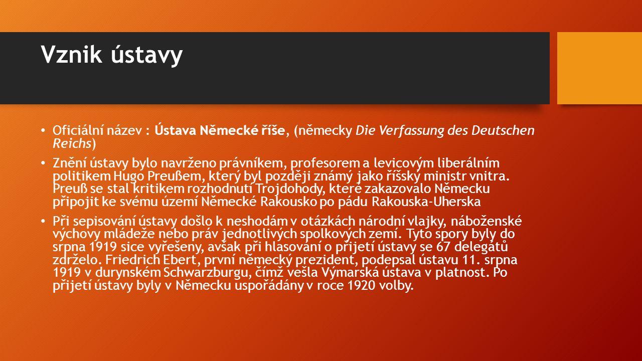 Vznik ústavy Oficiální název : Ústava Německé říše, (německy Die Verfassung des Deutschen Reichs) Znění ústavy bylo navrženo právníkem, profesorem a levicovým liberálním politikem Hugo Preußem, který byl později známý jako říšský ministr vnitra.