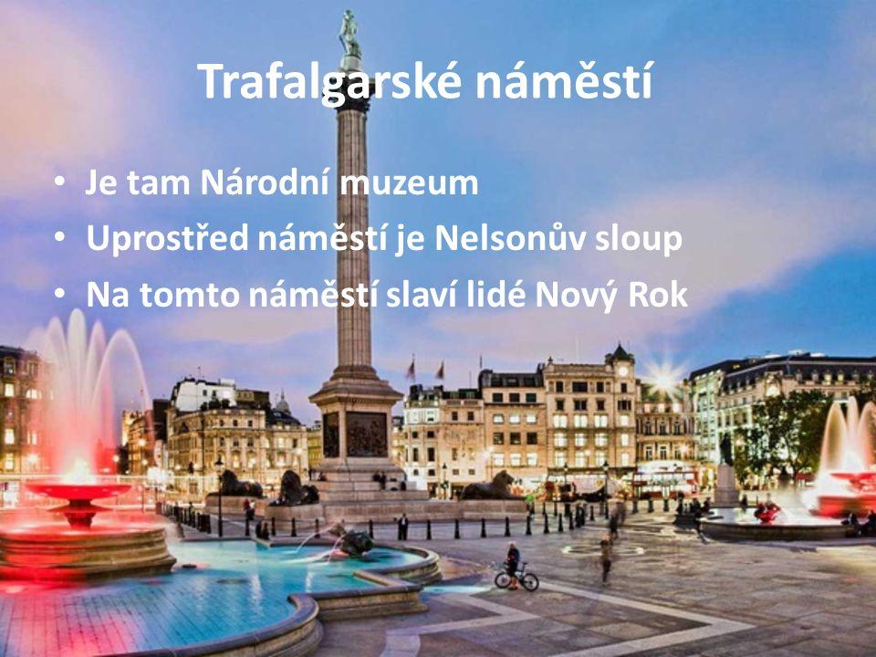 Trafalgarské náměstí Je tam Národní muzeum Uprostřed náměstí je Nelsonův sloup Na tomto náměstí slaví lidé Nový Rok