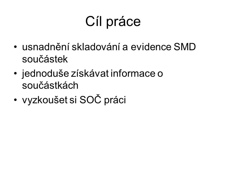 Cíl práce usnadnění skladování a evidence SMD součástek jednoduše získávat informace o součástkách vyzkoušet si SOČ práci