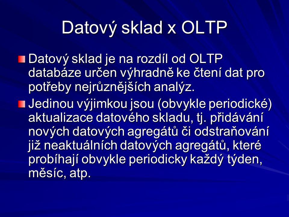 Datový sklad x OLTP Datový sklad je na rozdíl od OLTP databáze určen výhradně ke čtení dat pro potřeby nejrůznějších analýz.
