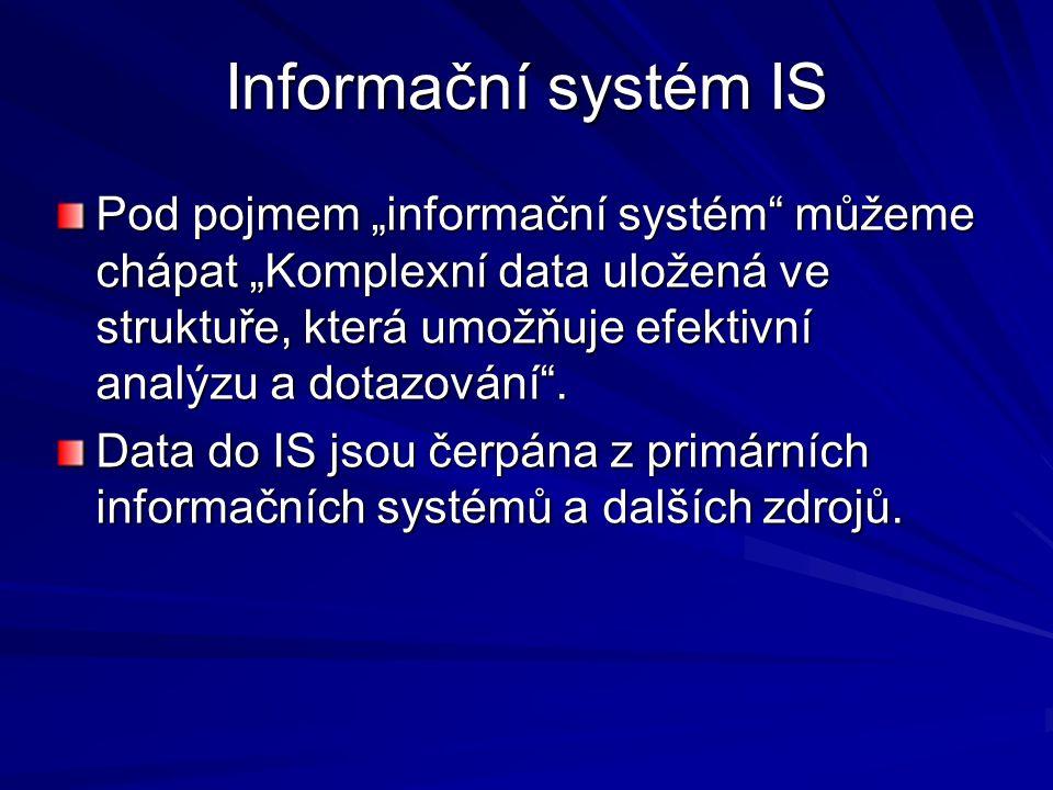 """Informační systém IS Pod pojmem """"informační systém můžeme chápat """"Komplexní data uložená ve struktuře, která umožňuje efektivní analýzu a dotazování ."""