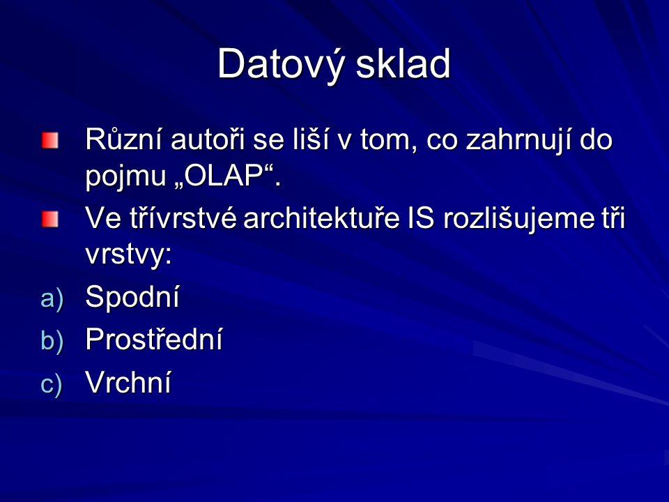 """Datový sklad Různí autoři se liší v tom, co zahrnují do pojmu """"OLAP ."""