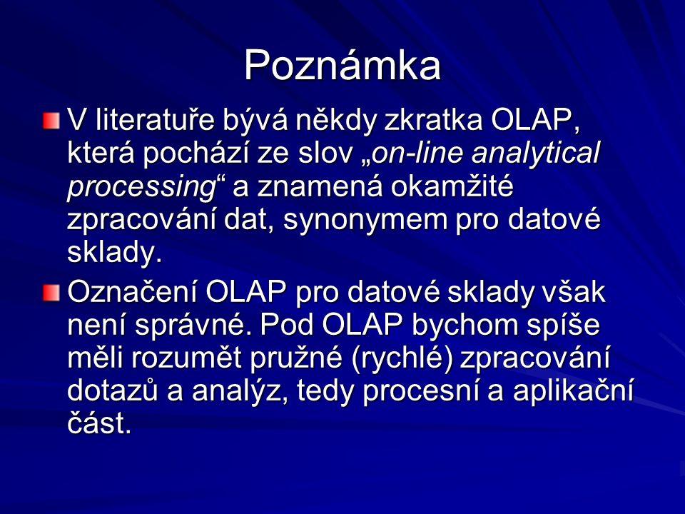 """Poznámka V literatuře bývá někdy zkratka OLAP, která pochází ze slov """"on-line analytical processing a znamená okamžité zpracování dat, synonymem pro datové sklady."""
