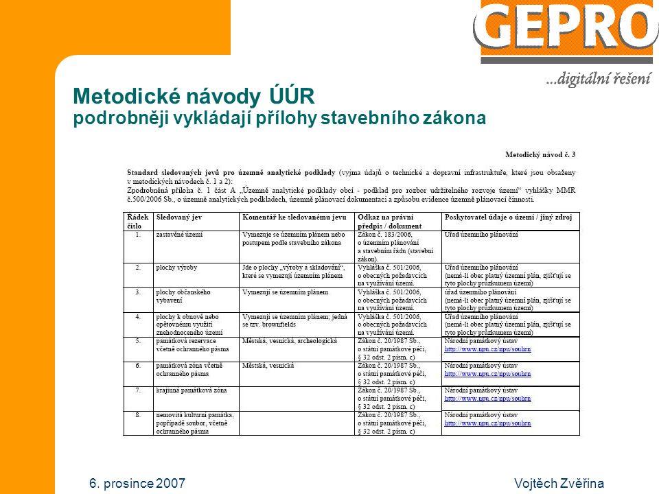 Vojtěch Zvěřina6. prosince 2007 Metodické návody ÚÚR podrobněji vykládají přílohy stavebního zákona