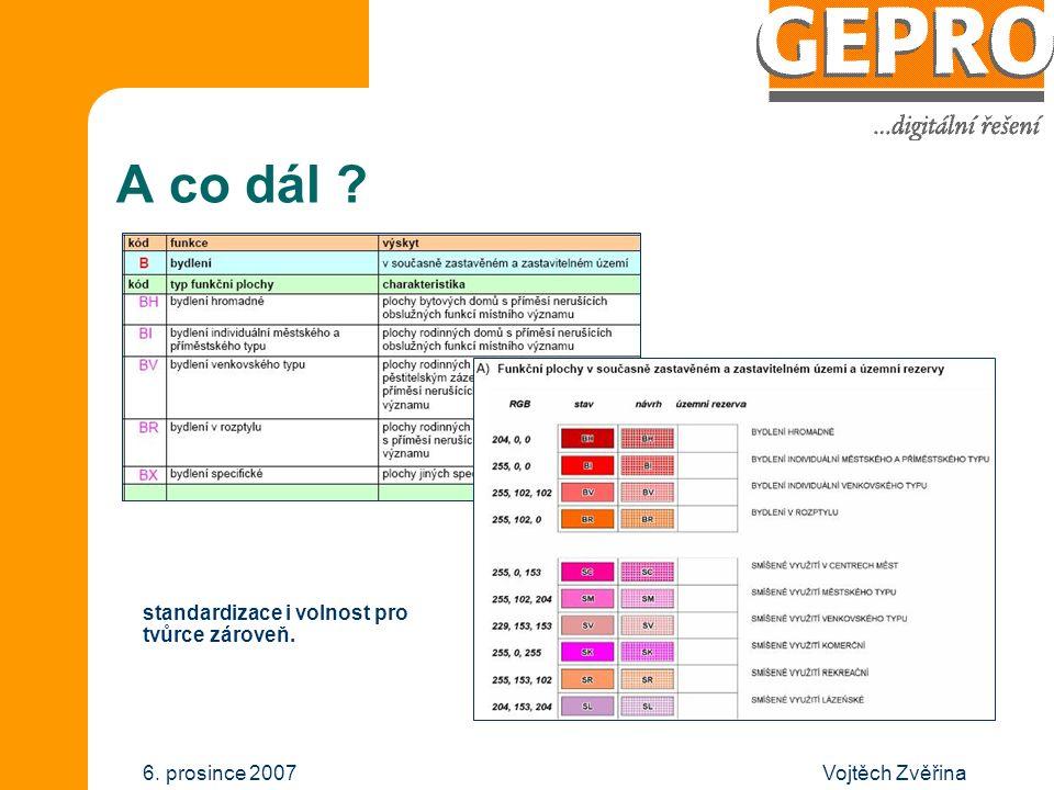 Vojtěch Zvěřina6. prosince 2007 A co dál ? standardizace i volnost pro tvůrce zároveň.