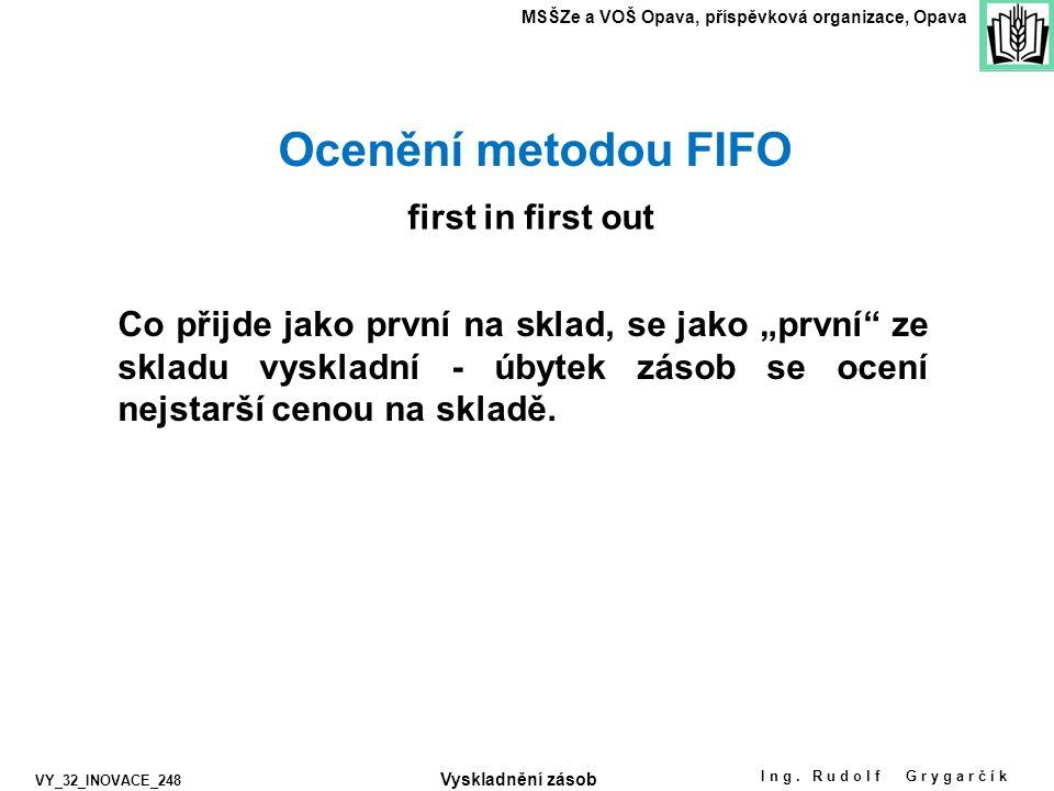 Ing. Rudolf Grygarčík MSŠZe a VOŠ Opava, příspěvková organizace, Opava VY_32_INOVACE_248 Ocenění metodou FIFO first in first out Co přijde jako první