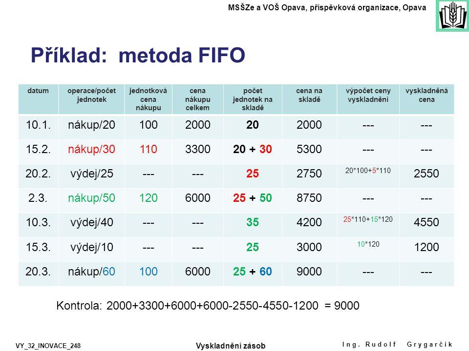 Příklad: metoda FIFO Ing. Rudolf Grygarčík MSŠZe a VOŠ Opava, příspěvková organizace, Opava VY_32_INOVACE_248 datumoperace/počet jednotek jednotková c