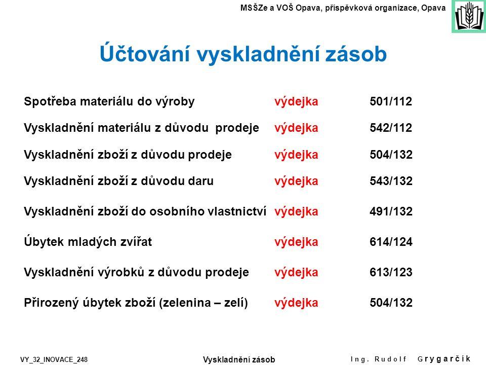 Vyskladnění výrobků z důvodu prodeje Spotřeba materiálu do výrobyvýdejka501/112 Úbytek mladých zvířat výdejka MSŠZe a VOŠ Opava, příspěvková organizac