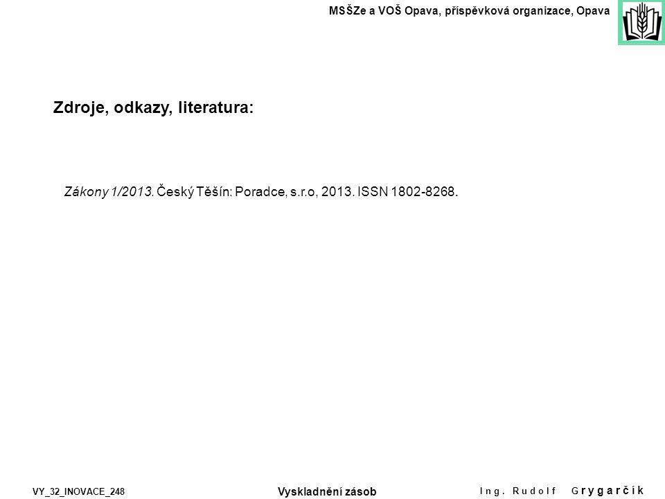 Zdroje, odkazy, literatura: MSŠZe a VOŠ Opava, příspěvková organizace, Opava VY_32_INOVACE_248 Ing. Rudolf G rygarčík Vyskladnění zásob Zákony 1/2013.