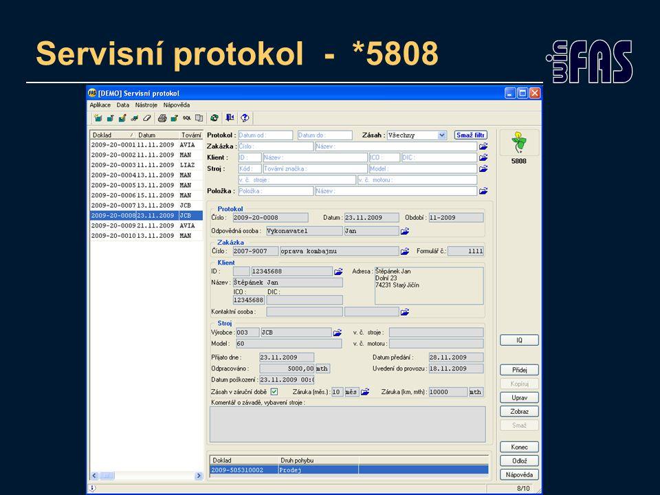 Servisní protokol - *5808