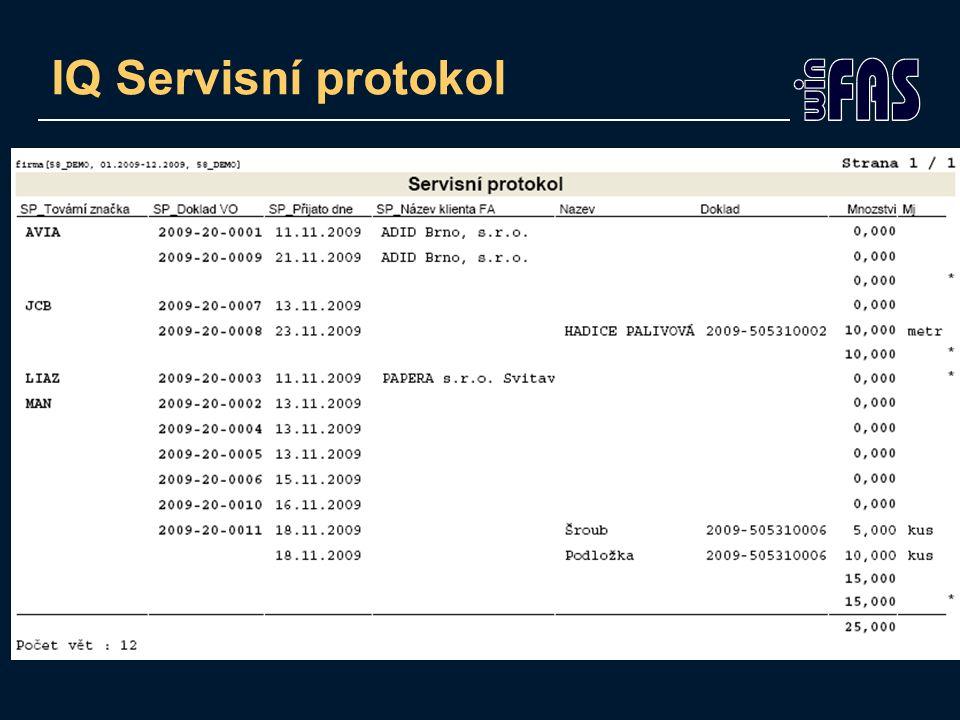IQ Servisní protokol