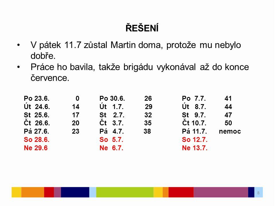 9 9 ŘEŠENÍ Po 23.6.0Po 7.7. 41Po 21.7. 50 Út 24.6.14Út 8.7.