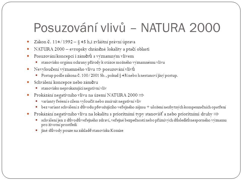 Posuzování vlivů – NATURA 2000 Zákon č.