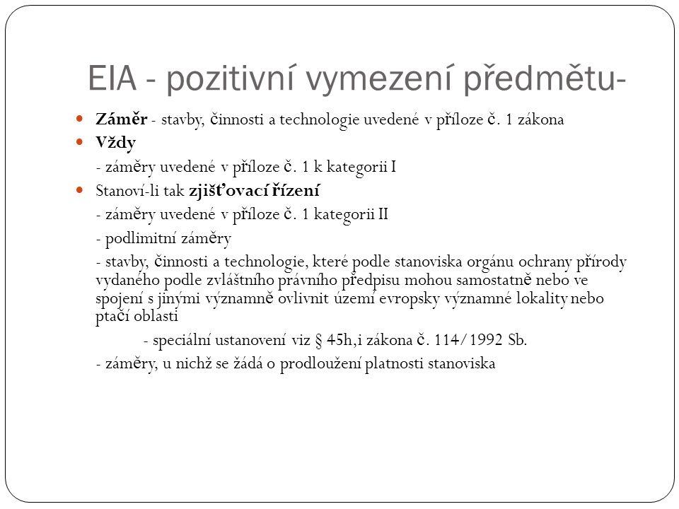EIA - pozitivní vymezení předmětu- Zám ě r - stavby, č innosti a technologie uvedené v p ř íloze č.