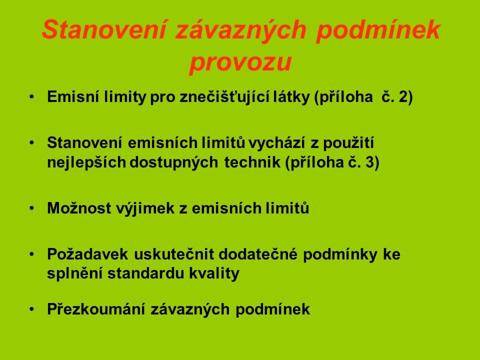 Stanovení závazných podmínek provozu Emisní limity pro znečišťující látky (příloha č.