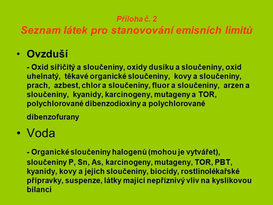 Příloha č. 2 Seznam látek pro stanovování emisních limitů Ovzduší - Oxid siřičitý a sloučeniny, oxidy dusíku a sloučeniny, oxid uhelnatý, těkavé organ