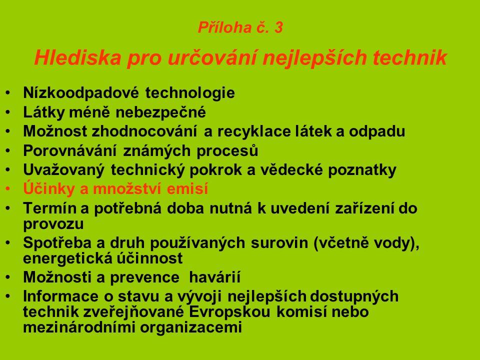 Příloha č. 3 Hlediska pro určování nejlepších technik Nízkoodpadové technologie Látky méně nebezpečné Možnost zhodnocování a recyklace látek a odpadu