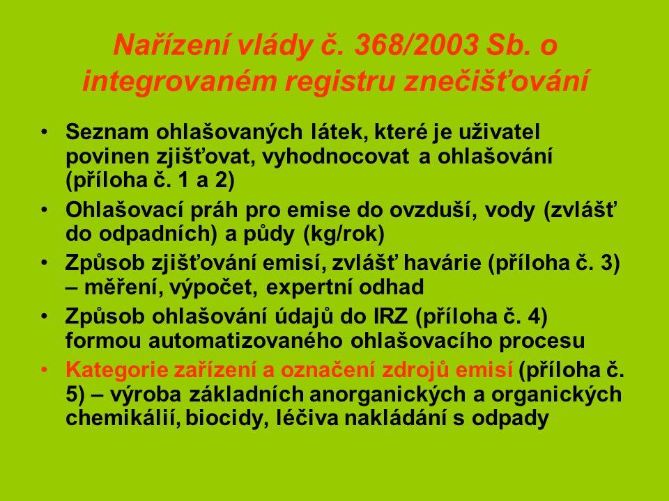 Nařízení vlády č. 368/2003 Sb. o integrovaném registru znečišťování Seznam ohlašovaných látek, které je uživatel povinen zjišťovat, vyhodnocovat a ohl