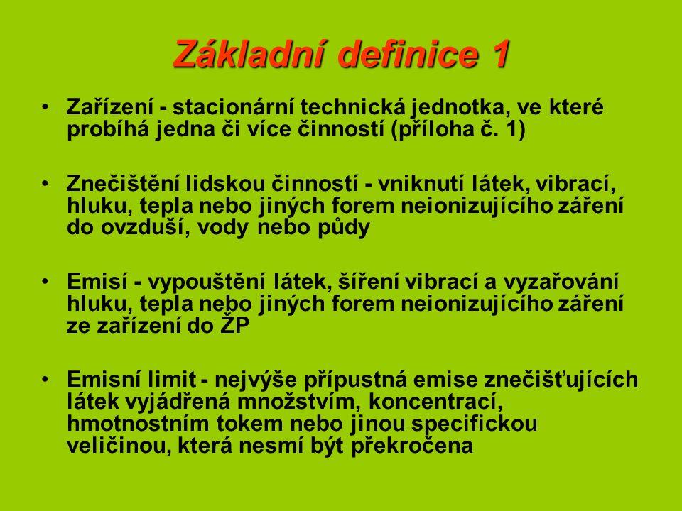 Základní definice 1 Zařízení - stacionární technická jednotka, ve které probíhá jedna či více činností (příloha č. 1) Znečištění lidskou činností - vn