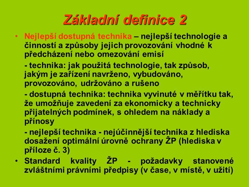 Základní definice 2 Nejlepší dostupná technika – nejlepší technologie a činností a způsoby jejich provozování vhodné k předcházení nebo omezování emisí - technika: jak použitá technologie, tak způsob, jakým je zařízení navrženo, vybudováno, provozováno, udržováno a rušeno - dostupná technika: technika vyvinuté v měřítku tak, že umožňuje zavedení za ekonomicky a technicky přijatelných podmínek, s ohledem na náklady a přínosy - nejlepší technika - nejúčinnější technika z hlediska dosažení optimální úrovně ochrany ŽP (hlediska v příloze č.