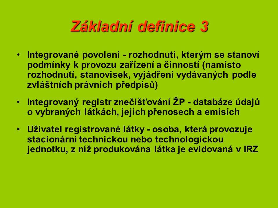 Základní definice 3 Integrované povolení - rozhodnutí, kterým se stanoví podmínky k provozu zařízení a činností (namísto rozhodnutí, stanovisek, vyjádření vydávaných podle zvláštních právních předpisů) Integrovaný registr znečišťování ŽP - databáze údajů o vybraných látkách, jejich přenosech a emisích Uživatel registrované látky - osoba, která provozuje stacionární technickou nebo technologickou jednotku, z níž produkována látka je evidovaná v IRZ