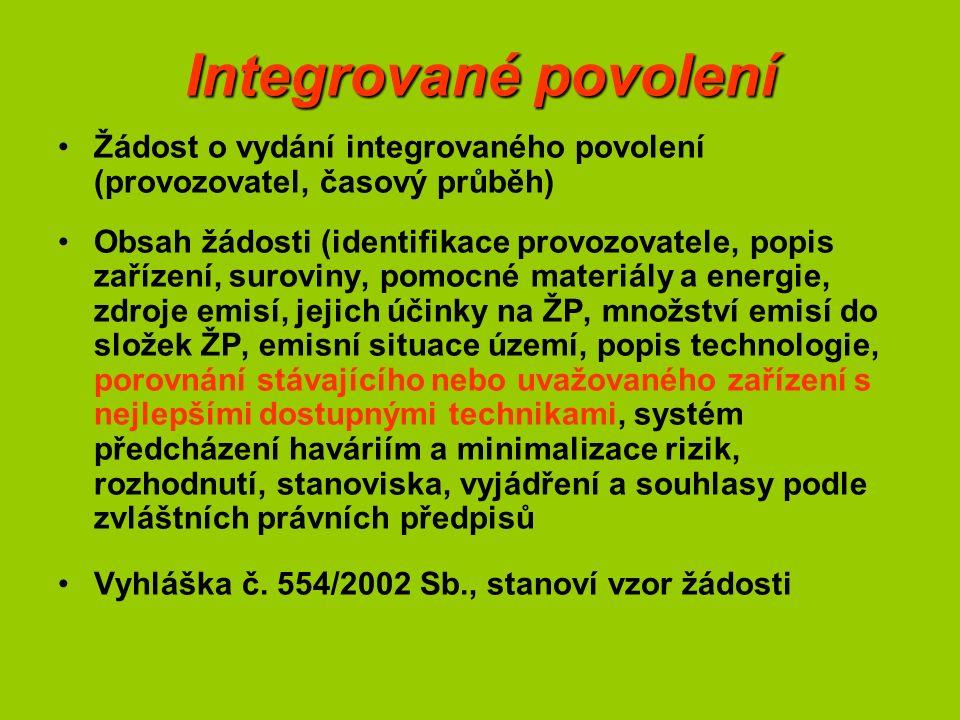 Integrované povolení Žádost o vydání integrovaného povolení (provozovatel, časový průběh) Obsah žádosti (identifikace provozovatele, popis zařízení, s