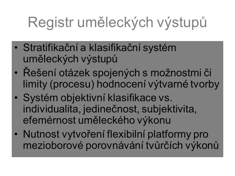 Registr uměleckých výstupů Stratifikační a klasifikační systém uměleckých výstupů Řešení otázek spojených s možnostmi či limity (procesu) hodnocení vý