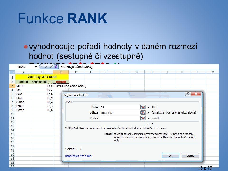 Funkce RANK ●vyhodnocuje pořadí hodnoty v daném rozmezí hodnot (sestupně či vzestupně) RANK(B3;$B$3:$B$9;1) 13 z 19
