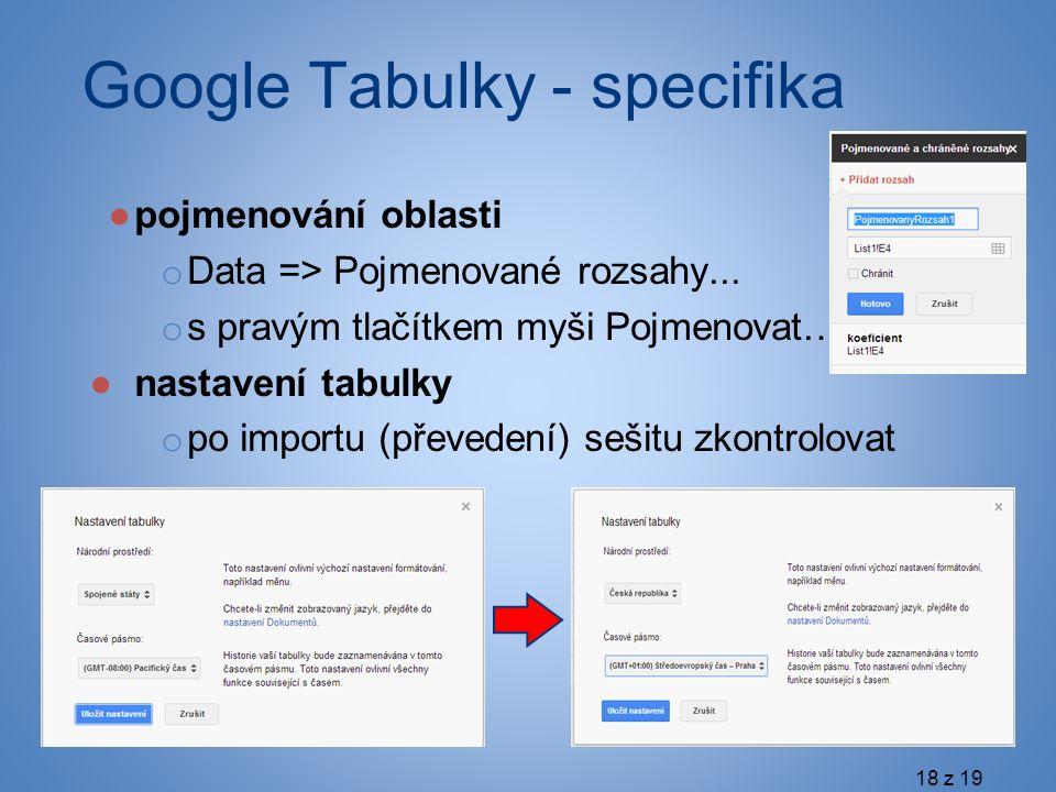Google Tabulky - specifika ●pojmenování oblasti o Data => Pojmenované rozsahy...