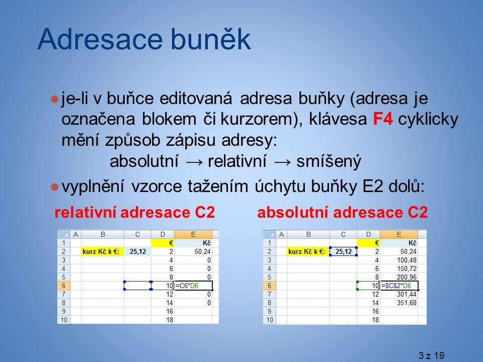 Adresace buněk ●je-li v buňce editovaná adresa buňky (adresa je označena blokem či kurzorem), klávesa F4 cyklicky mění způsob zápisu adresy: absolutní → relativní → smíšený ●vyplnění vzorce tažením úchytu buňky E2 dolů: relativní adresace C2 absolutní adresace C2 3 z 19