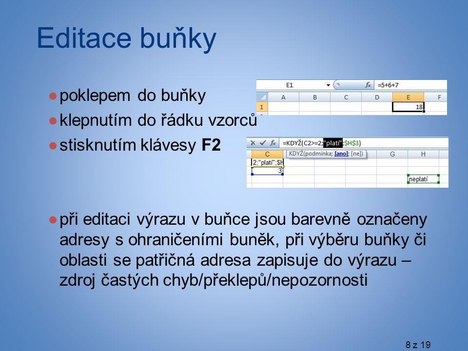 Editace buňky ●poklepem do buňky ●klepnutím do řádku vzorců ●stisknutím klávesy F2 ●při editaci výrazu v buňce jsou barevně označeny adresy s ohraničeními buněk, při výběru buňky či oblasti se patřičná adresa zapisuje do výrazu – zdroj častých chyb/překlepů/nepozornosti 8 z 19