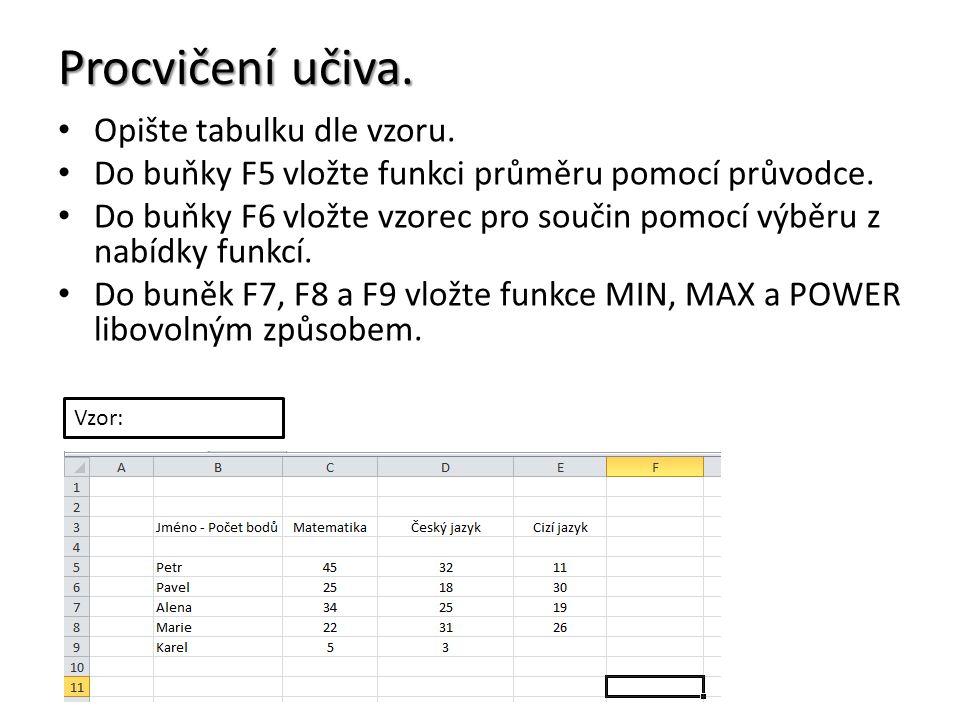 Procvičení učiva. Opište tabulku dle vzoru. Do buňky F5 vložte funkci průměru pomocí průvodce.