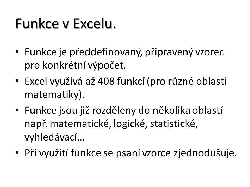 Funkce v Excelu. Funkce je předdefinovaný, připravený vzorec pro konkrétní výpočet.
