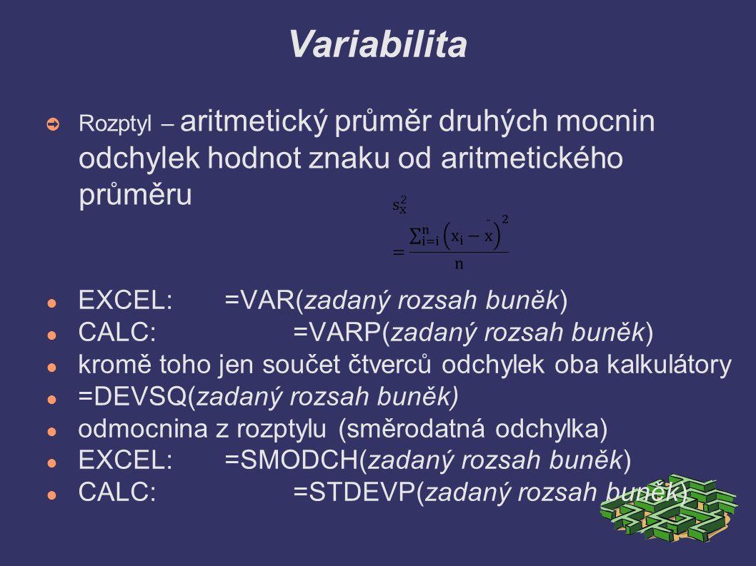 Variabilita ➲ Rozptyl – aritmetický průměr druhých mocnin odchylek hodnot znaku od aritmetického průměru ● EXCEL: =VAR(zadaný rozsah buněk) ● CALC:=VA