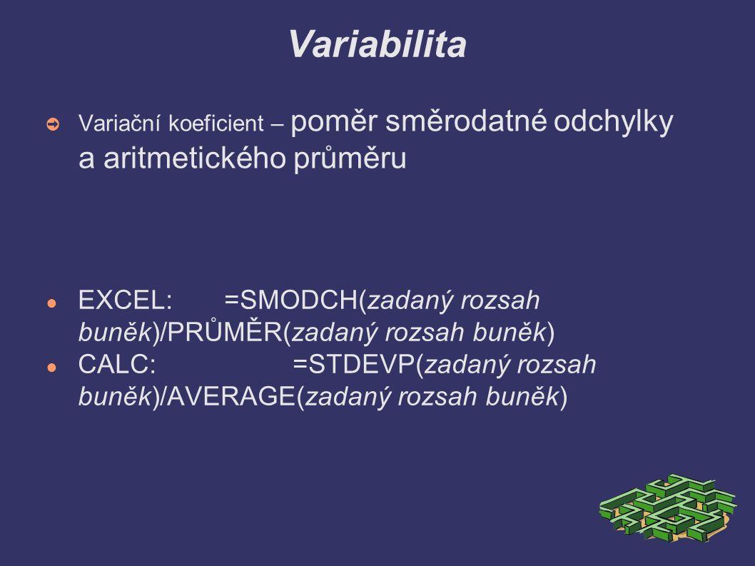 Variabilita ➲ Variační koeficient – poměr směrodatné odchylky a aritmetického průměru ● EXCEL: =SMODCH(zadaný rozsah buněk)/PRŮMĚR(zadaný rozsah buněk) ● CALC:=STDEVP(zadaný rozsah buněk)/AVERAGE(zadaný rozsah buněk)