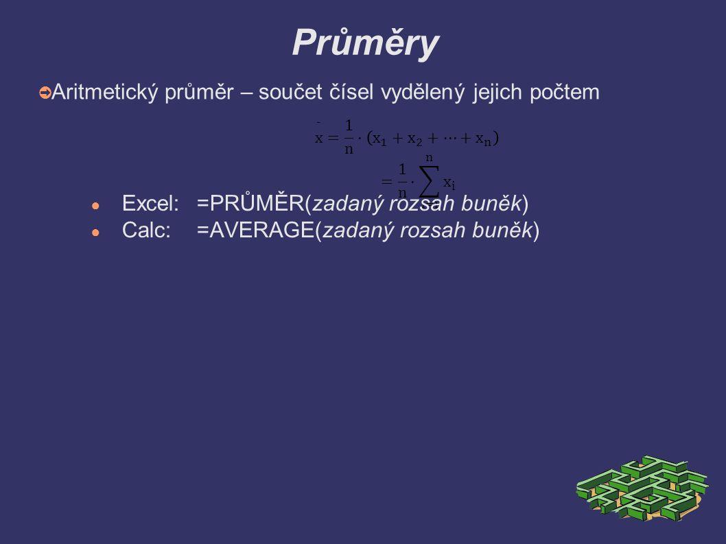 Vážený průměr ➲ Vážený průměr – u každé veličiny je znám počet výskytů ● Excel: =SOUČIN.SKALÁRNí(rozsah buněk s počtem výskytu;rozsah buněk s hodnotami)/SUMA(rozsah buněk s počtem výskytu) ● Calc:=SUMPRODUCT(rozsah buněk s počtem výskytu;rozsah buněk s hodnotami)/SUM(rozsah buněk s počtem výskytu)