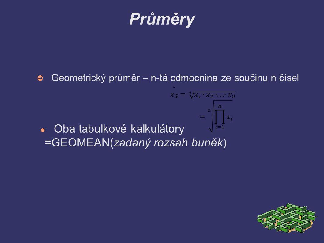Průměry ➲ Geometrický průměr – n-tá odmocnina ze součinu n čísel ● Oba tabulkové kalkulátory =GEOMEAN(zadaný rozsah buněk)