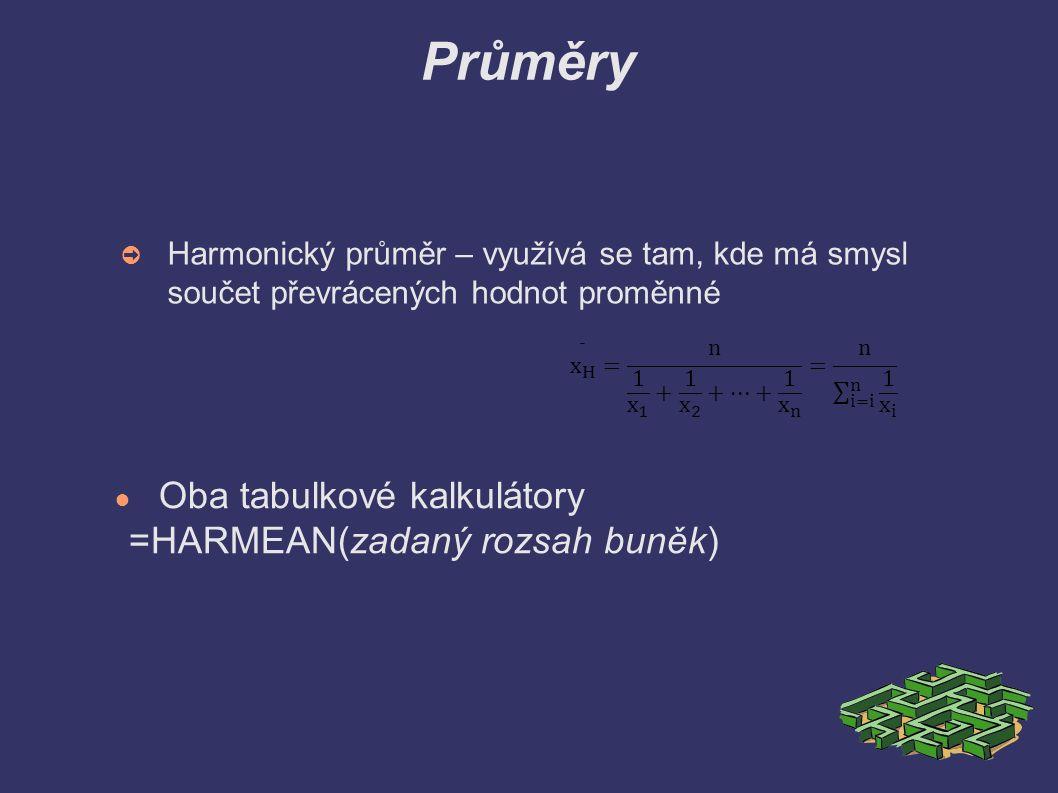 Průměry ➲ Harmonický průměr – využívá se tam, kde má smysl součet převrácených hodnot proměnné ● Oba tabulkové kalkulátory =HARMEAN(zadaný rozsah buně
