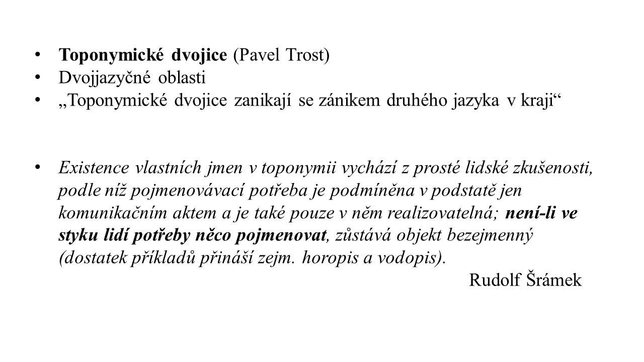 "Toponymické dvojice (Pavel Trost) Dvojjazyčné oblasti ""Toponymické dvojice zanikají se zánikem druhého jazyka v kraji"" Existence vlastních jmen v topo"