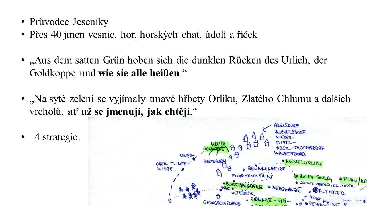 """Průvodce Jeseníky Přes 40 jmen vesnic, hor, horských chat, údolí a říček """"Aus dem satten Grün hoben sich die dunklen Rücken des Urlich, der Goldkoppe"""