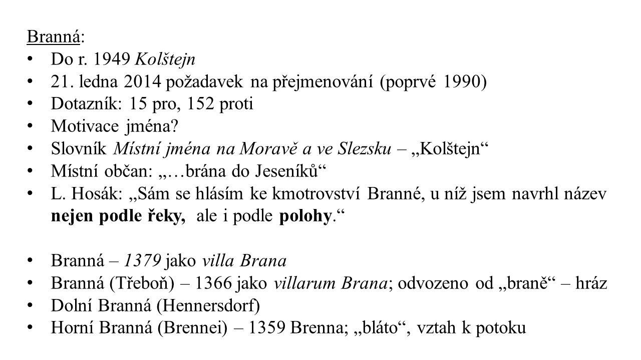 Branná: Do r. 1949 Kolštejn 21. ledna 2014 požadavek na přejmenování (poprvé 1990) Dotazník: 15 pro, 152 proti Motivace jména? Slovník Místní jména na