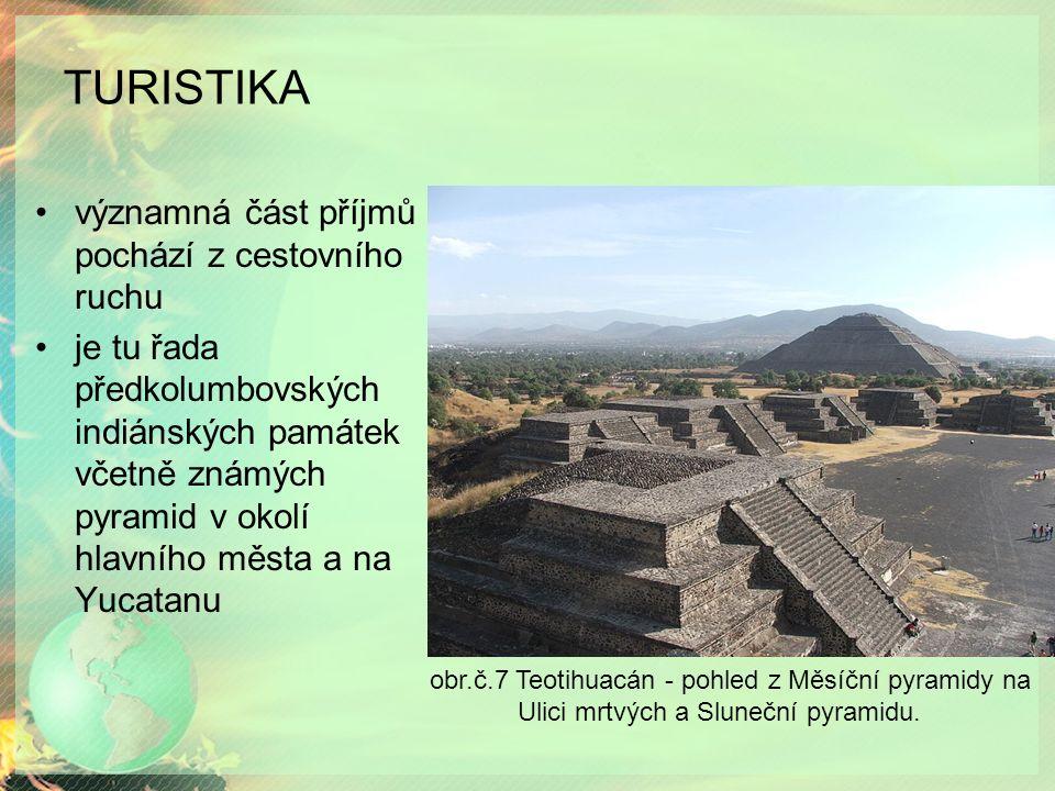 TURISTIKA významná část příjmů pochází z cestovního ruchu je tu řada předkolumbovských indiánských památek včetně známých pyramid v okolí hlavního měs