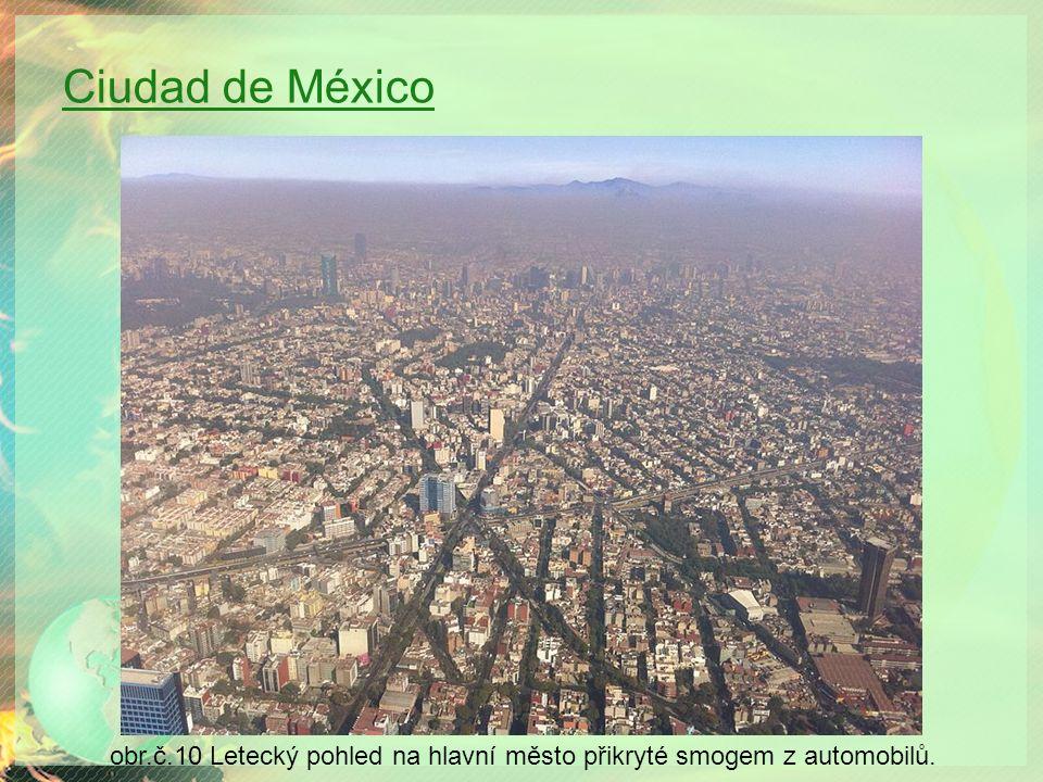 Ciudad de México obr.č.10 Letecký pohled na hlavní město přikryté smogem z automobilů.