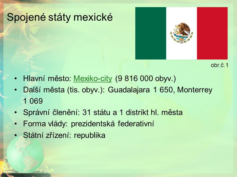 Spojené státy mexické Hlavní město: Mexiko-city (9 816 000 obyv.)Mexiko-city Další města (tis. obyv.): Guadalajara 1 650, Monterrey 1 069 Správní člen