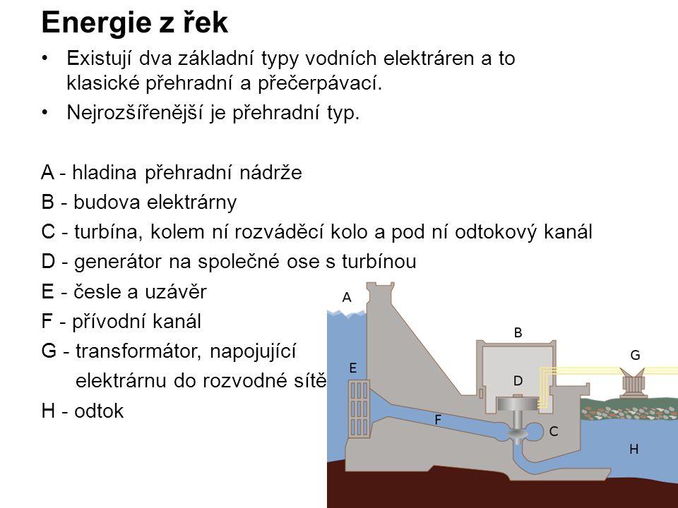 Energie z řek Existují dva základní typy vodních elektráren a to klasické přehradní a přečerpávací.