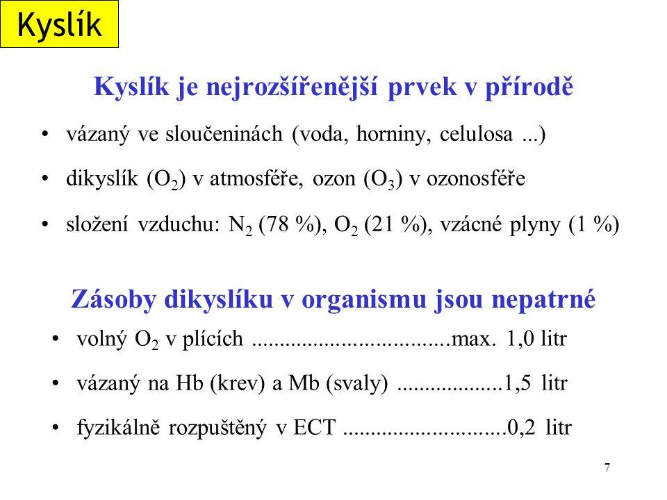 18 Eliminace H 2 O 2 v organismu katalasa - disproporcionace H 2 O 2 H 2 O 2  ½ O 2 + H 2 O glutathionperoxidasa (obsahuje selenocystein) redukce na vodu za účasti glutathionu (G-SH) 2 G-SH + H-O-O-H  G-S-S-G + 2 H 2 O