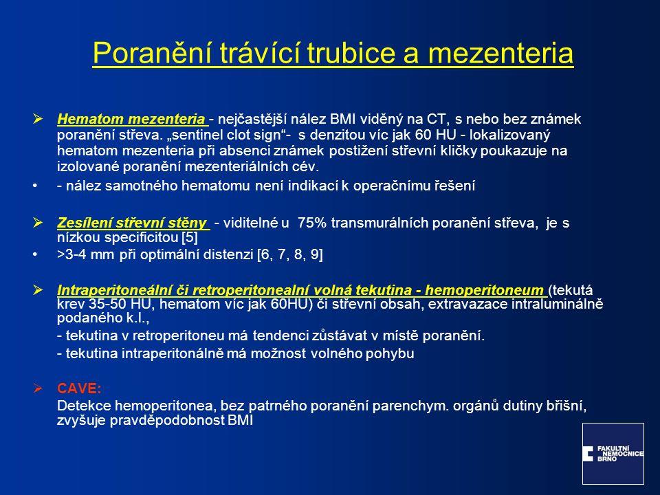  Hematom mezenteria - nejčastější nález BMI viděný na CT, s nebo bez známek poranění střeva.