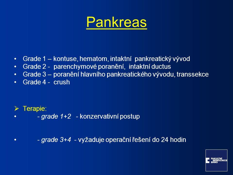 Pankreas Grade 1 – kontuse, hematom, intaktní pankreatický vývod Grade 2 - parenchymové poranění, intaktní ductus Grade 3 – poranění hlavního pankreat