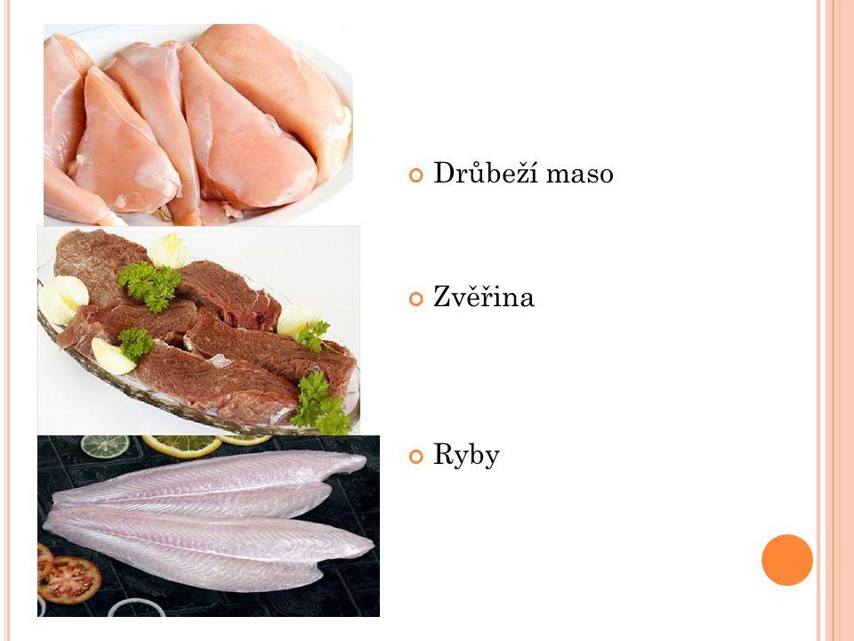 Drůbeží maso Zvěřina Ryby