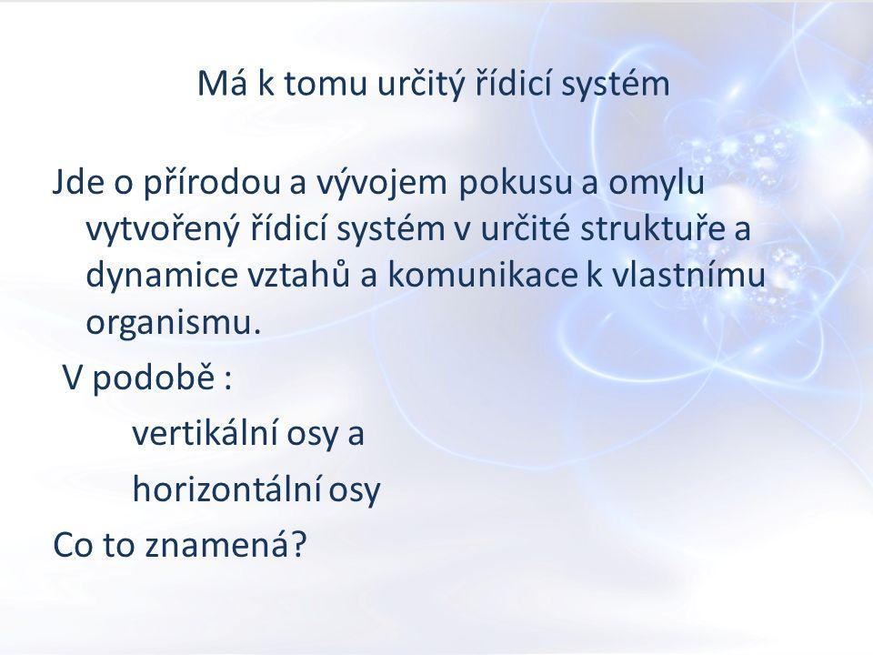 Má k tomu určitý řídicí systém Jde o přírodou a vývojem pokusu a omylu vytvořený řídicí systém v určité struktuře a dynamice vztahů a komunikace k vlastnímu organismu.